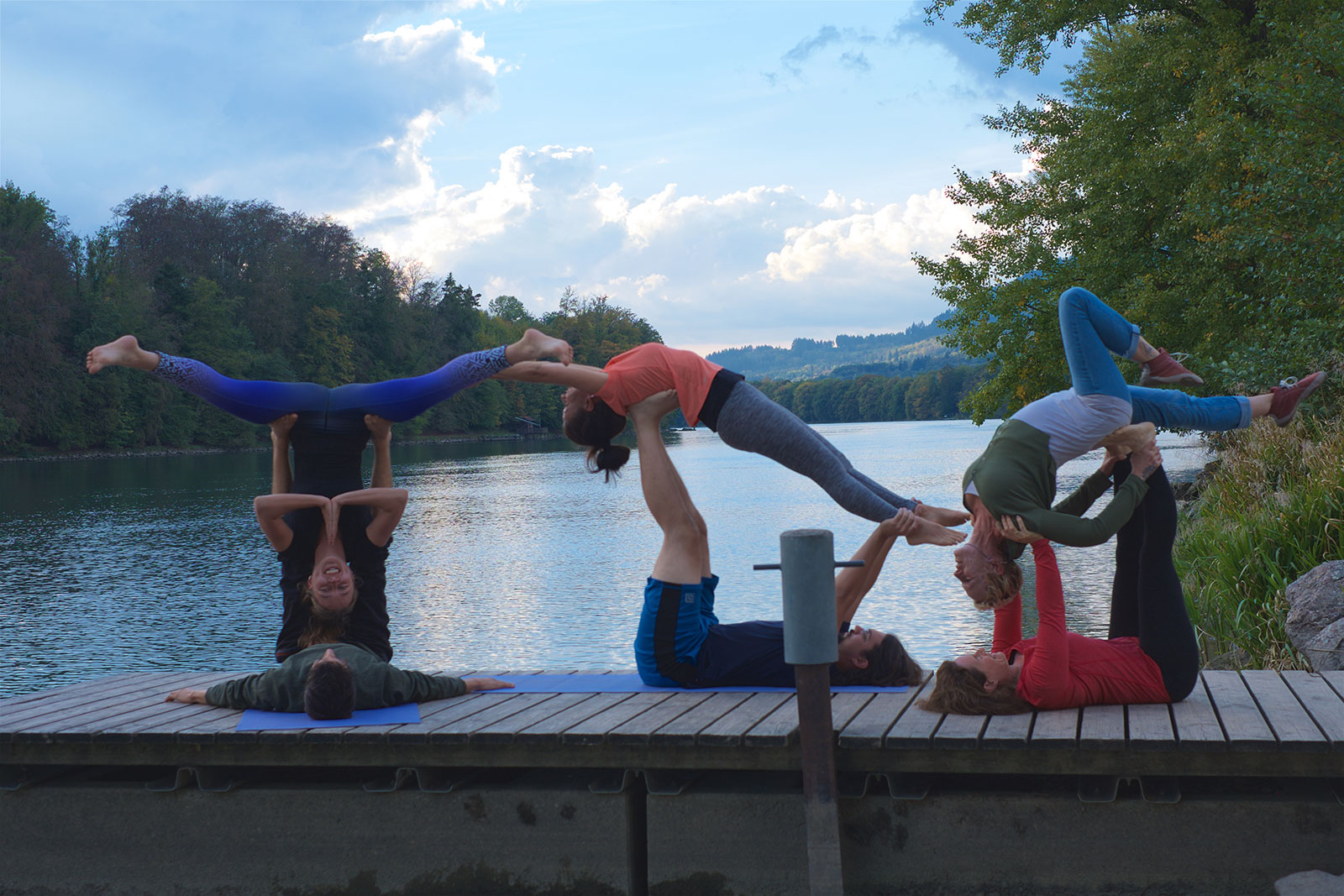 Acrobatic Yoga, Star Pose, Whale Pose, Backbend, inverted bow