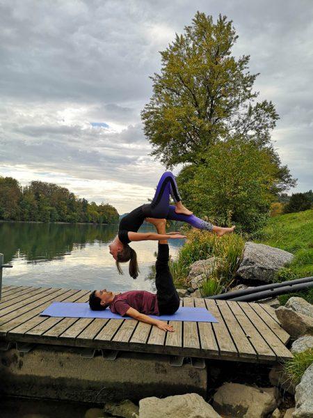 Acrobatic Yoga Back Bird Pose